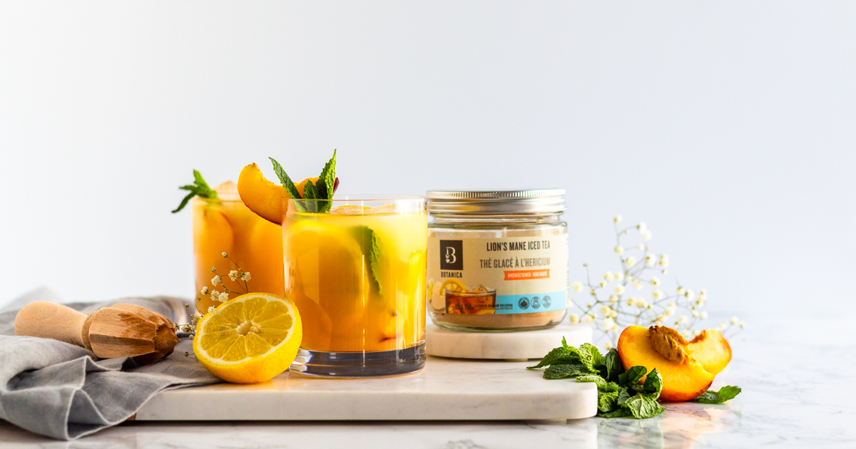 #SweetenYourSummer with a refreshingly cooling Peached Iced Tea, featuring our NEW Unsweetened Lion's Mane Iced Tea. The perfect way to incorporate lion's mane mushroom into your diet. Get the recipe today.  https://t.co/NERDoQvc3A https://t.co/8KBEqobDD1
