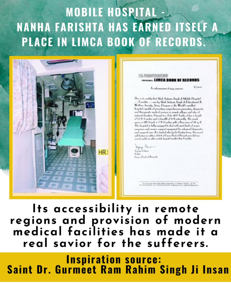 #नन्हा_फरिश्ता is a #MobileHospital with all the modern medical facilities. Designed by Saint Dr. @Gurmeetramrahim Singh Ji INSAN...., small in size so that it can be easily reach its destination without any delay even in remote areas....! https://t.co/A4h64UMbjE