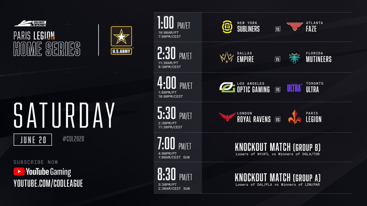 The @ParisLegion Home Series resumes now with an epic day of matches ahead of us. #CDL2020 Catch all of the action on youtube.com/watch?v=x8kg6r….