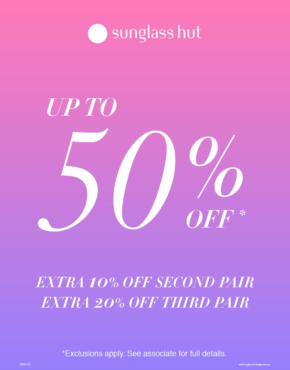 Visit Sunglass Hut now–6/22 and enjoy up to 50% off + 10% off a second pair + 20% off a third pair of sunglasses. Exclusion apply. See store for details. https://t.co/J58K5VLsce