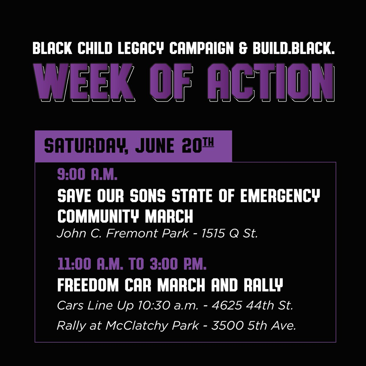 """Final Juneteenth Week of Actions events happening tomorrow, June 20.  March #1: The Sacramento NAACP car lead march begins at 10:30am at the Fruitridge Community Collaborative.  March #2: """"Save our Sons: State of Emergency."""" March begins at 9am at John C Freemont Park. https://t.co/fqEsA6hJMh"""
