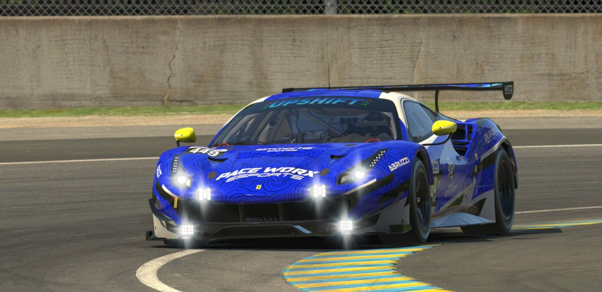 Its Race day for the @iRacing Le Mans 24hrs. I'm driving the #449 @PaceWorxeSports Ferrari 488 GTE. Last year I finished 3rd. Hoping for another podium or even going better!   #simRacing #craigsetupshop #ipitting #upshiftonline #eSports #Abruzzi https://t.co/JA0Ab7amy0