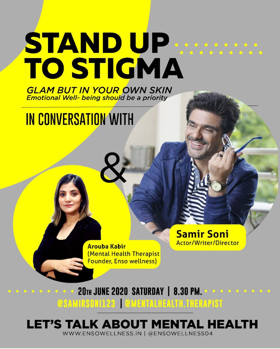 """STAND UP TO STIGMA""""                 TALK AND #ENDTHESTIGMA.  On IGtv Arouba Kabir (mentalhealth.therapist) 8:30pm tonight with @samirsoni123 an amazing Indian film and television actor ,director who is also a stunning fashion model # mentalhealthawareness #bodypositive https://t.co/Bbsm1gpldw"""