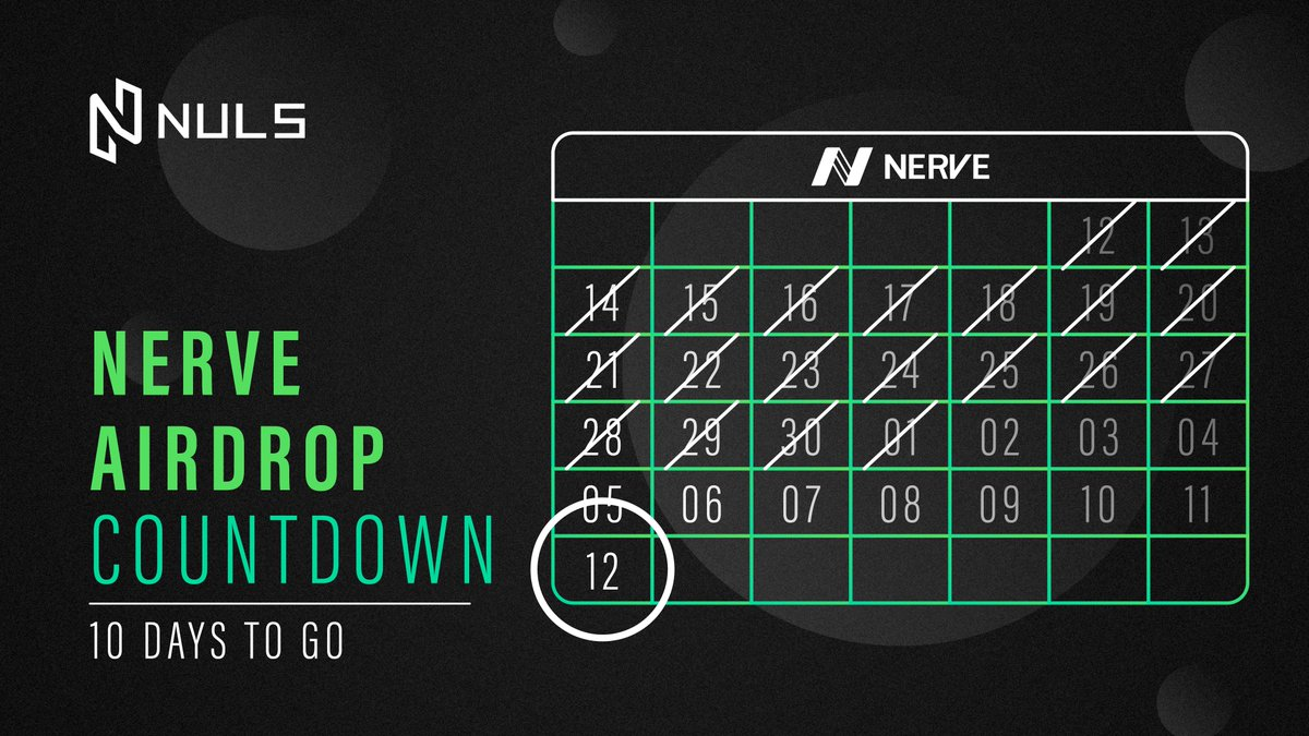 Its getting close! Just 10 days to go until the @nerve_network #NVT #Airdrop on JULY 12th, height 2620000 #NULS will be airdropping 1 $NVT for every 10 $NULS you hold during the snapshot To receive $NVT you need a NULS address from the following: bbs.nuls.io/t/announcement…