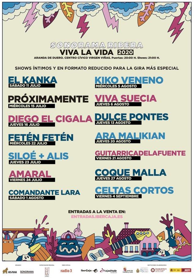 """El @sonoramaribera anuncia un ciclo de conciertos """"íntimo y de aforo reducido"""": VIVA LA VIDA con #ElKanka, #VivaSuecia, #Guitarricadelafuente #Amaral #CoqueMalla o #Siloé entre otros. https://t.co/cM1CogyX9C https://t.co/HqD2G4Tvnk"""