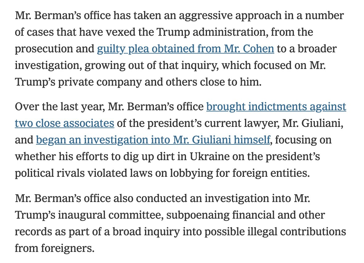 In case you were wondering why Trump wants to get rid of Geoffrey Berman, the U.S. Attorney in Manhattan, consider this your explainer.    Hint: It has to do with Trump's personal interests, like everything else Trump cares about as President.   https://t.co/flq7GhxOUI https://t.co/ViVVFuosCq
