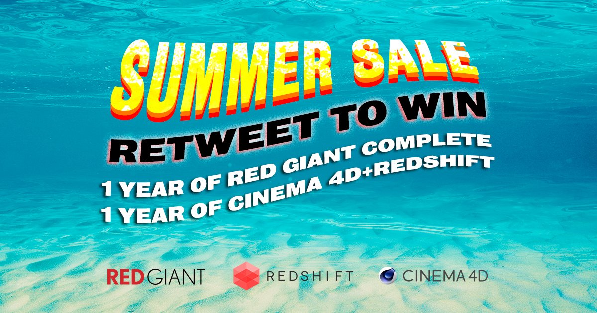 RETWEET TO WIN | In the run-up to our epic Summer Sale you have the chance to win 1 year of EVERYTHING we make every 12h! Follow @maxon3d, @RedGiantNews & @redshift3d, & RT tweets with #MaxRedSummerSale (add the hashtag for quote RT) to enter! Details: maxon.net/summer2020