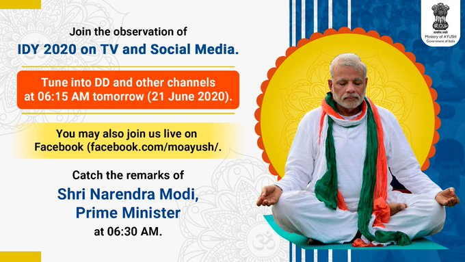 Join the observation of International Day of Yoga (IDY) 2020 on Television and Social Media Tune into @DDNational , @DDNewslive  , @DD_Bharati  , @DDIndialive  , @DDUrduOfficial  , @ddsportschannel  , @DDKisanChannel  or any of the numerous other channels that would be relaying