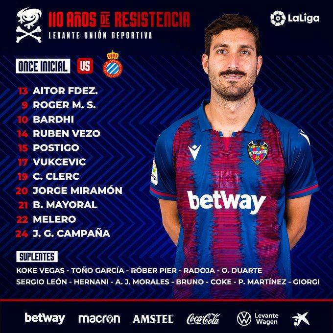 Ea8z8WjXsAA3czv?format=jpg&name=small Alineaciones confirmadas Espanyol-Levante - Comunio-Biwenger