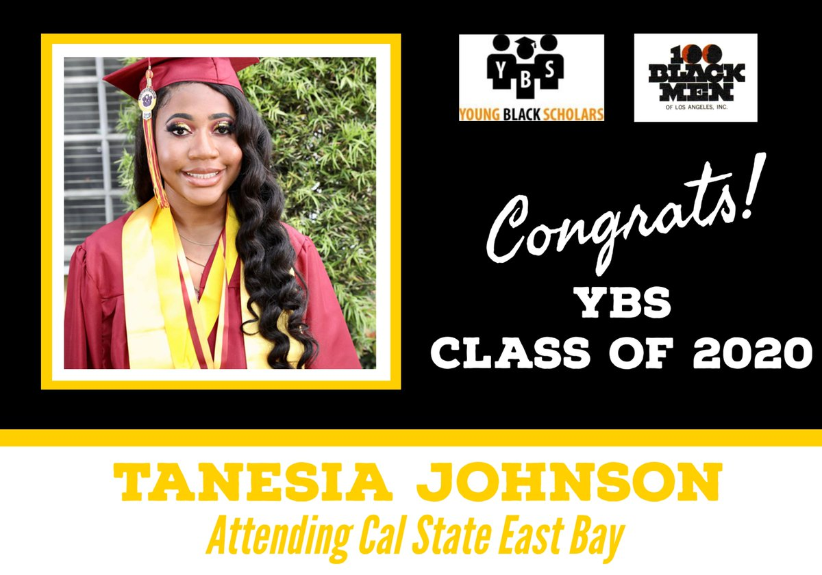 Meet Young Black Scholars' Class of 2020 Senior Tanesia Johnson.  Tanesia will be attending Cal State East Bay in the Fall.  Congratulations Tanesia!  @100bmoa @100BlackMenLA #ybs #100blackmen #youngblackscholars #collegebound