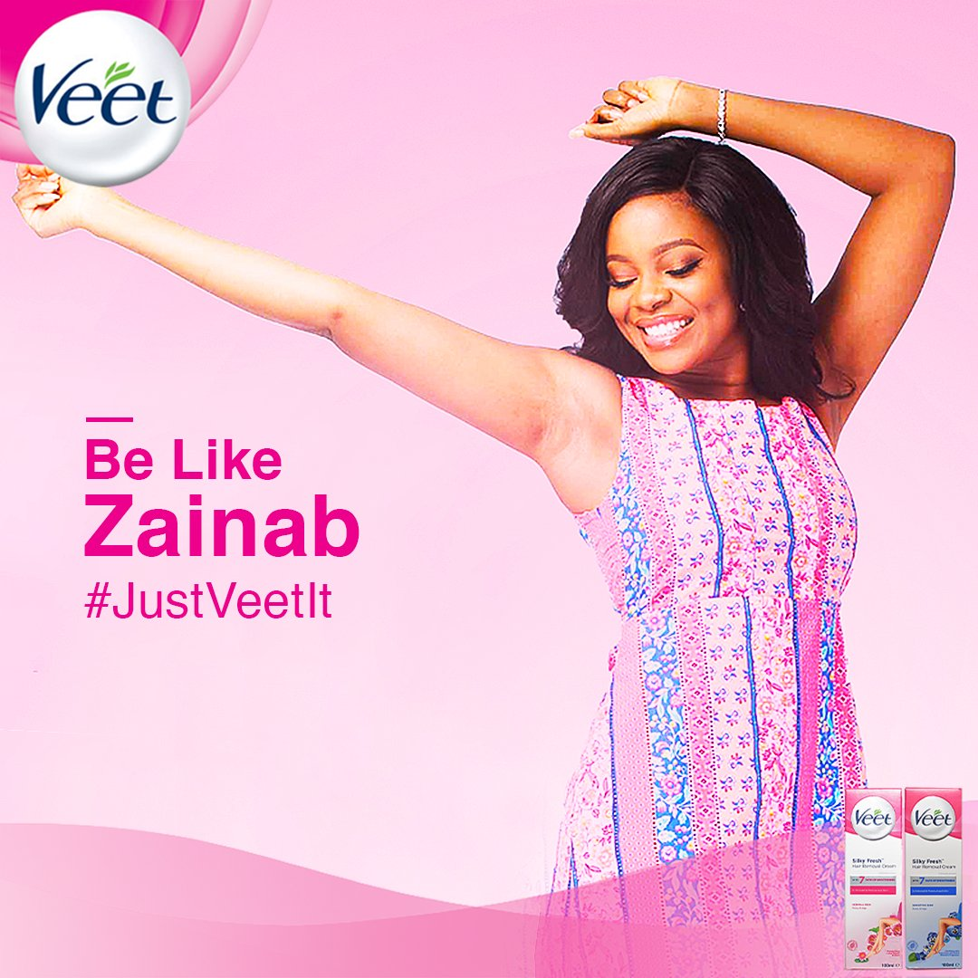 Meet Zainab, she stays smooth and ready to go. Be like Zainab.   Don't shave it.  #JustVeetIt https://t.co/zqc3FaQ41z