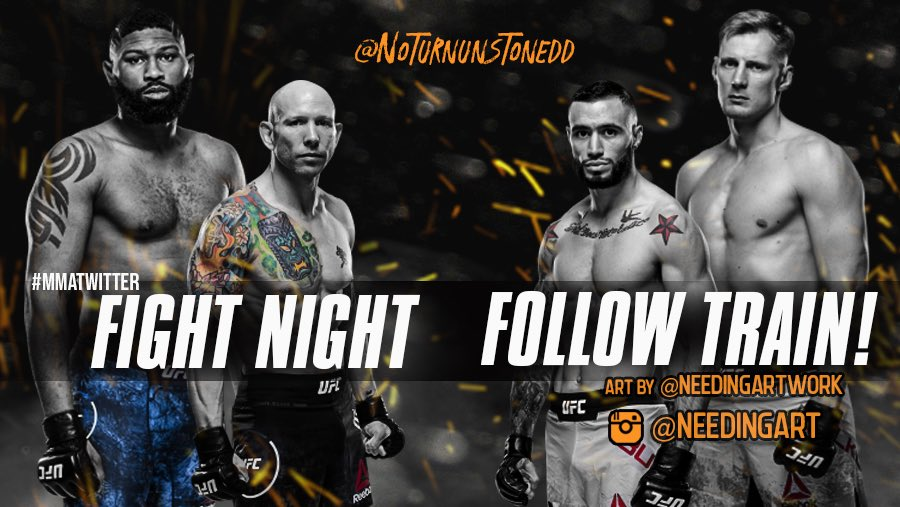 #UFCVegas3 FIGHT NIGHT FOLLOW TRAIN!!🔥💯    1. RETWEET & LIKE this Post. 2. Follow Me, @needingartwork & all MMA fans that RT/Like. 3. Drop your fight predictions in the thread. 4. Watch your following grow & connect with new fans!🚆  YouTube Channel 👉🏼 https://t.co/nMt60KeI2w https://t.co/3FSvWeokFk