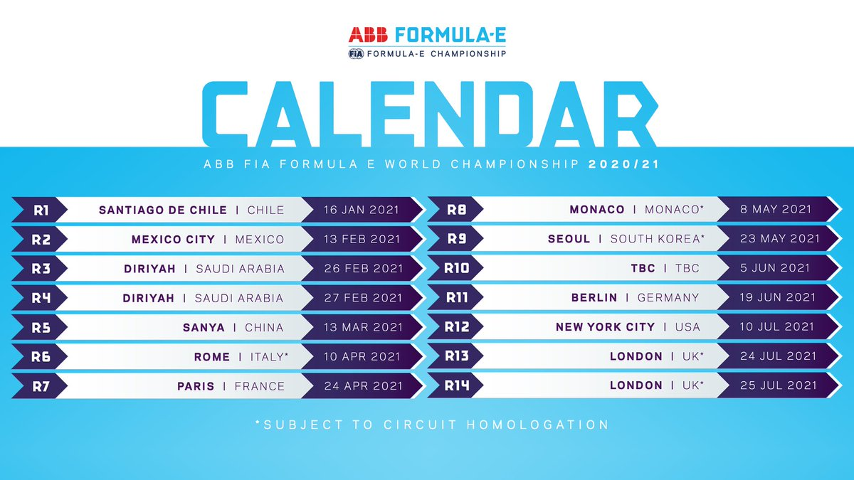 🚨 First look at the Season 7 #ABBFormulaE calendar, with the new World Championship status. Monaco returns, while Seoul and London's ExCel track make their debuts.  See in the calendar when a race comes to a city near you! ⬇️ https://t.co/v2nkjiOqbr