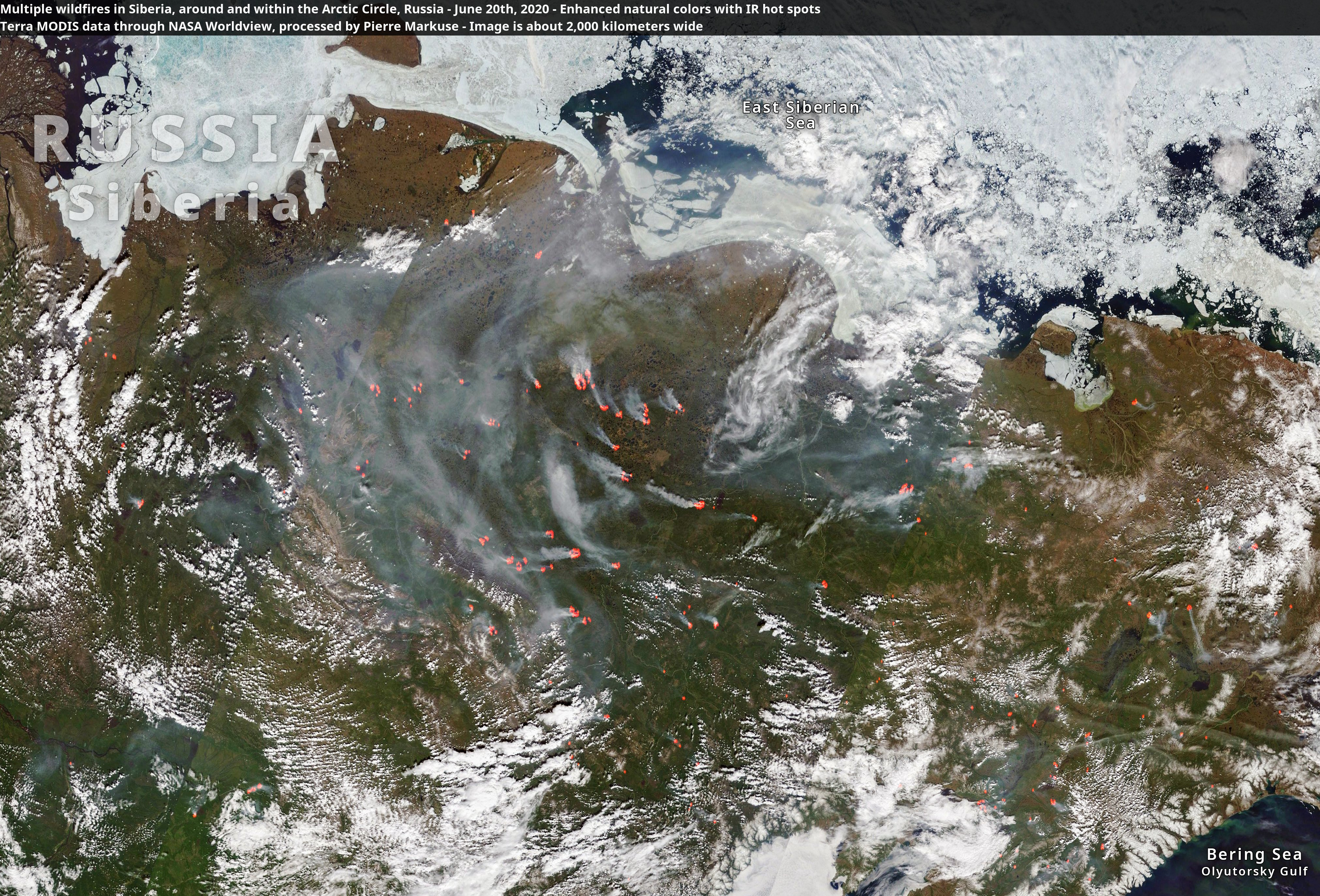 Satellite image of multiple wildfires in Siberia with big smoke plumes visible. Terra MODIS data through NASA Worldview, processed by Pierre Markuse