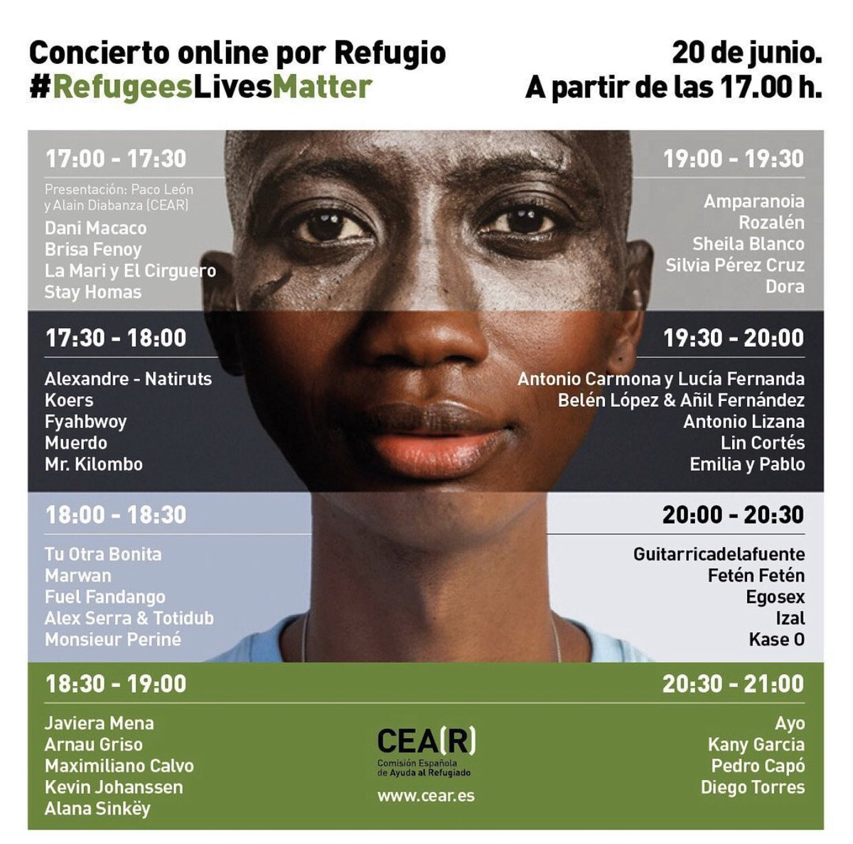 Concierto #refugeeslivesmatter por tan solo 5€ que irán directos a los refugiados @CEARefugio   Hoy a partir de las 17:00  Dona en https://t.co/hQuG8pMU5F   Horarios: https://t.co/29w4hIuxag