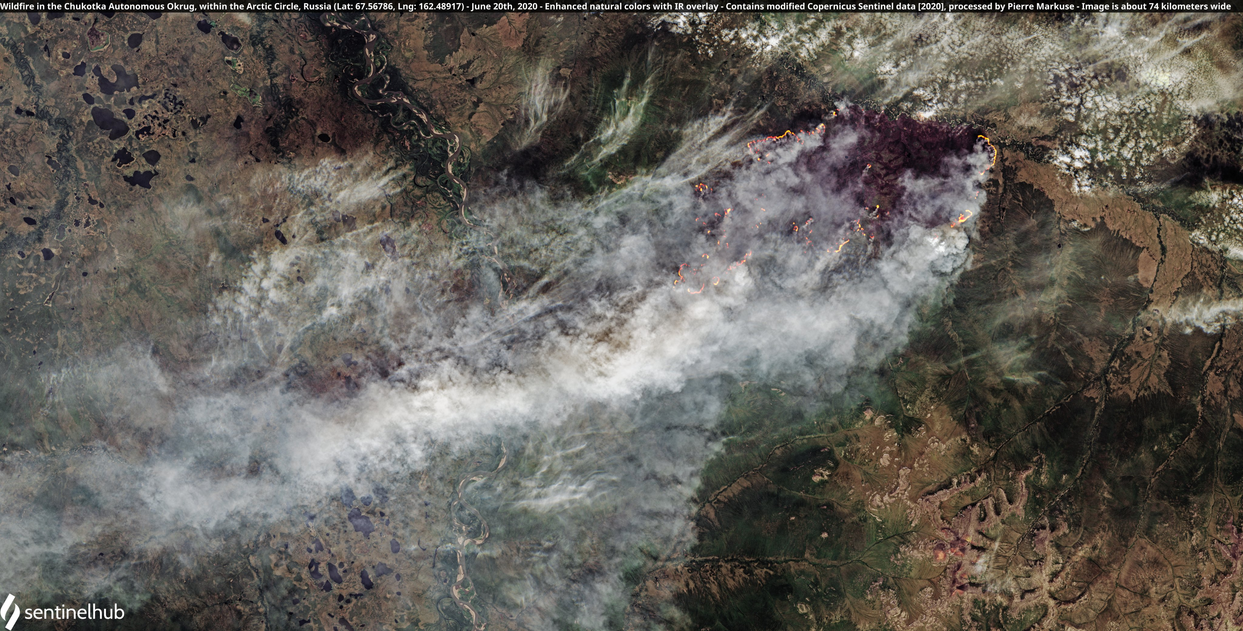 Satellite image of a wildfire in Chukotka, Russia. Copernicus/Pierre Markuse