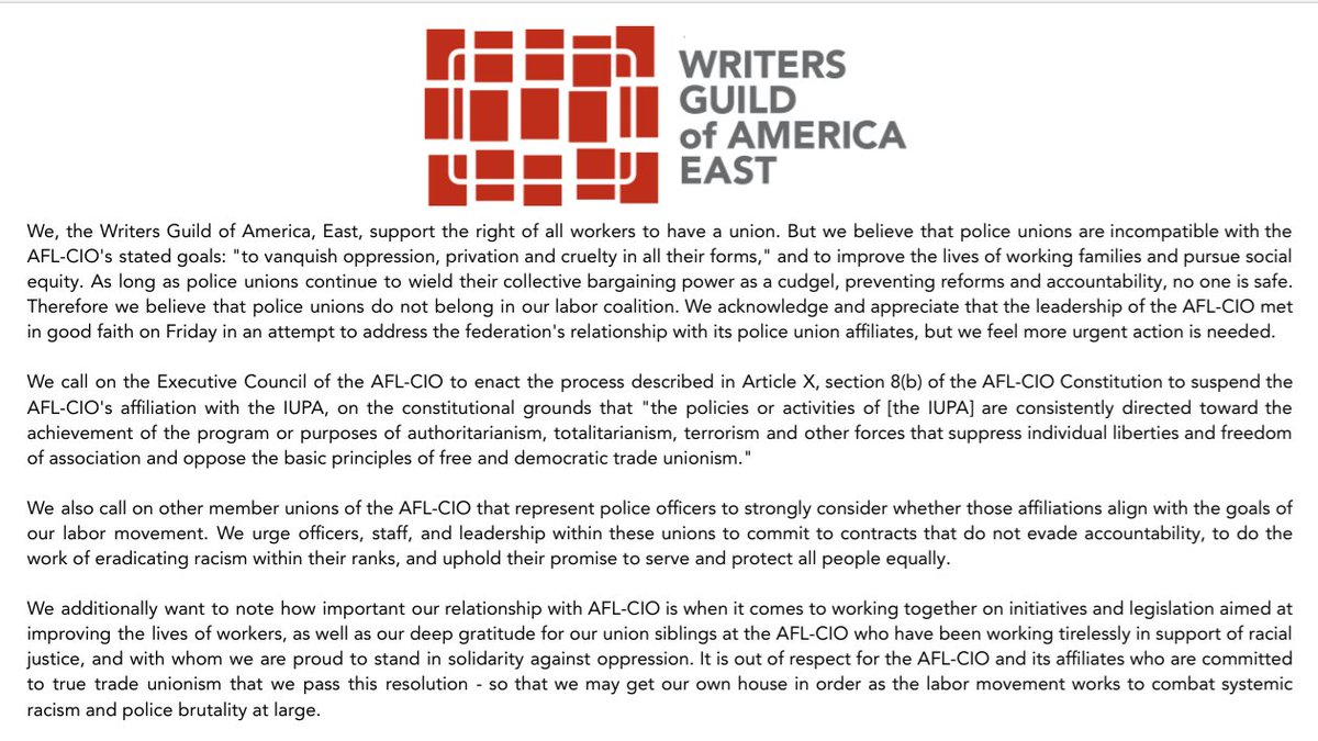 The following resolution was unanimously passed by the Council of the Writers Guild of America, East calling on the @AFLCIO to disaffiliate with the International Union of Police Associations (IUPA).