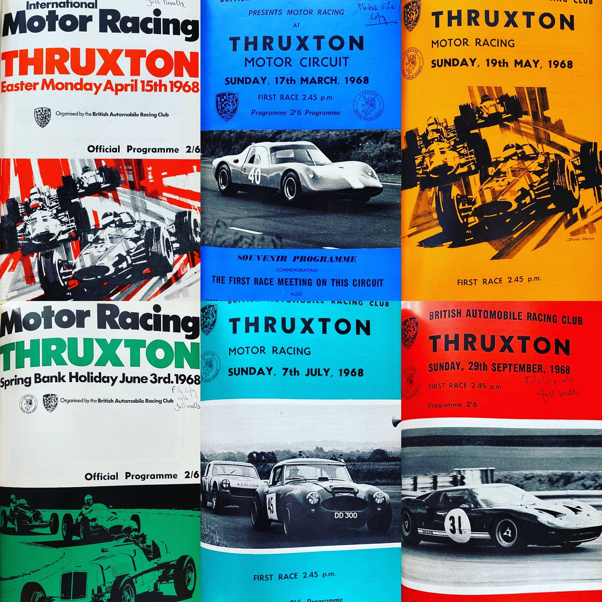 Check out these race programmes from Thruxton in 1968 (our inaugural year).  The Easter Monday cover features incredible artwork from Dexter Brown.  #Thruxton #Racing #racingcars      #Motorsport #Hampshire #artwork  #dexterbrown https://t.co/gOGCksJMyb
