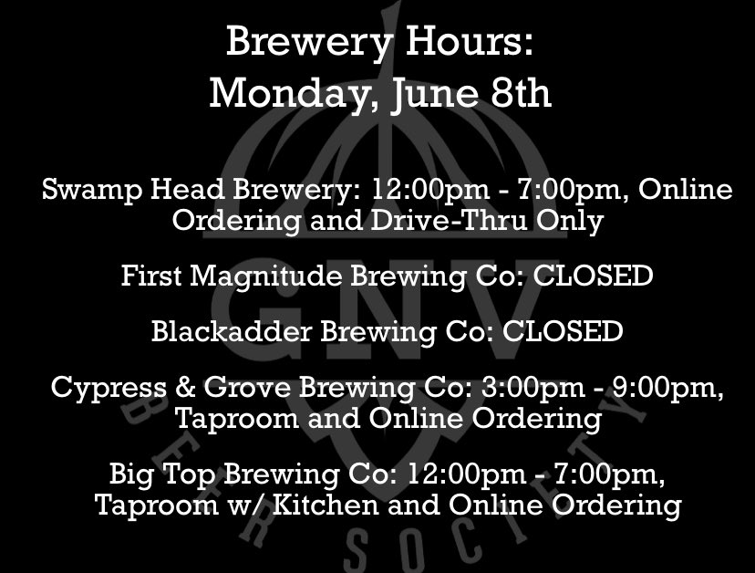 Here are the hours for today! 🍻 #GNVBeer @blackadderbrews @fmbrewing @cypressandgrove @BigTopGville @SwampHead