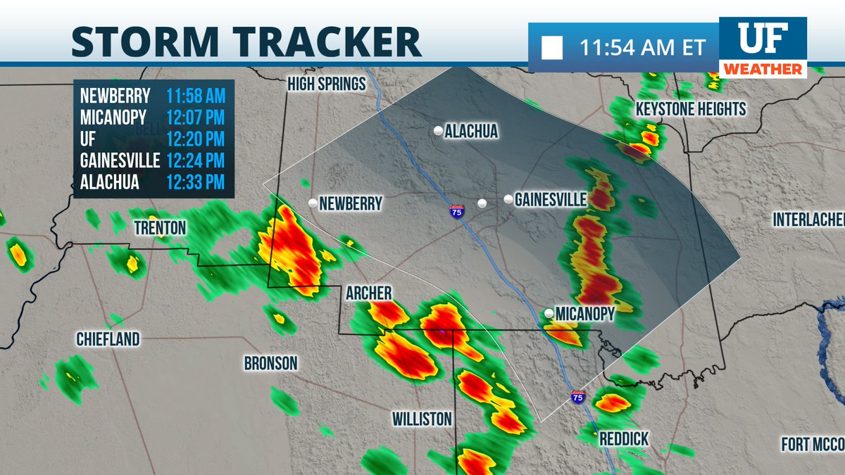 Lunch hour downpour alert: The next cells will be moving through #Gainesville and @UF between 12:15 and 12:25 pm.