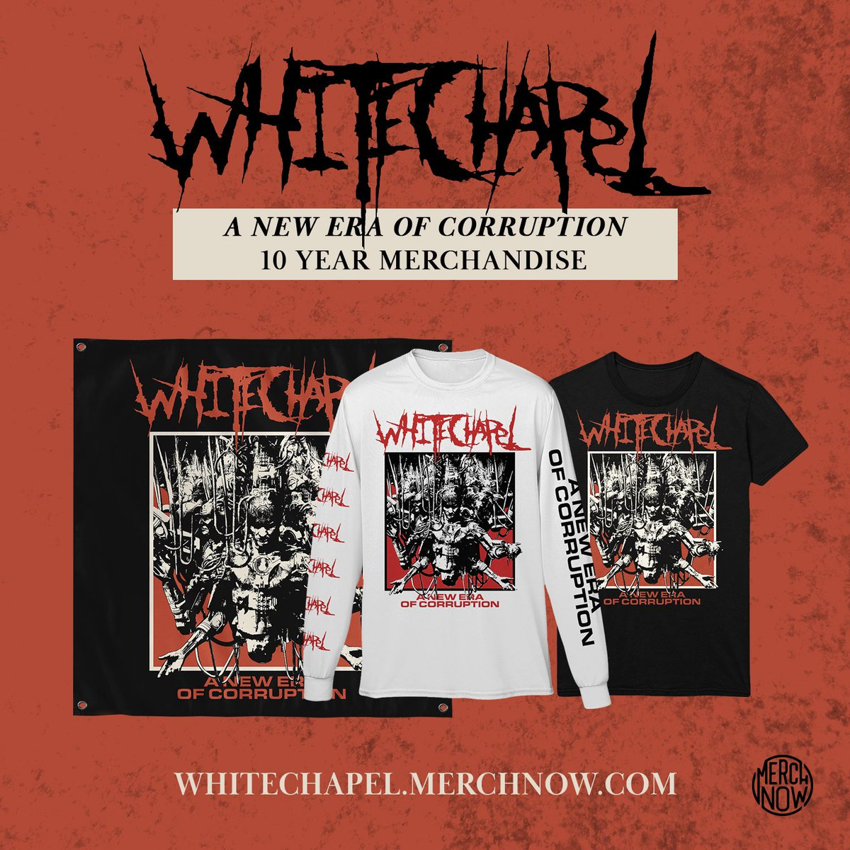 """On this day 10 years ago we released our third full length album """"A New Era of Corruption"""".  It was a career defining record for us and in celebration we have released a line of anniversary merch that is available now. https://t.co/qsI0kZuE0b https://t.co/pRICs7ULc5"""