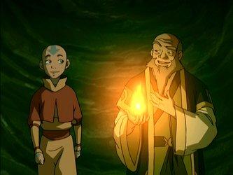 Aang seeks advice in the dark tunnel