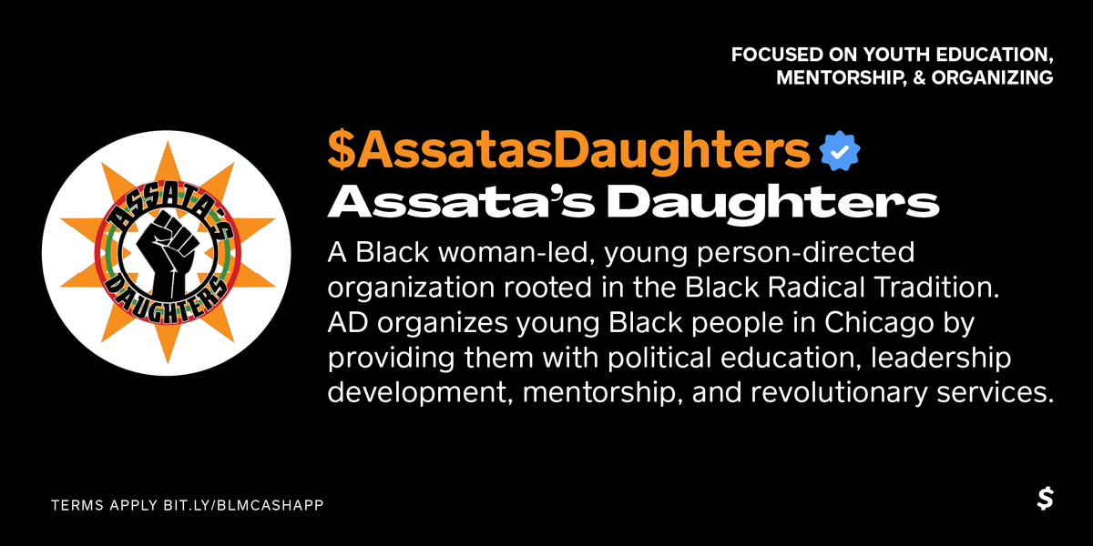 Cash App On Twitter Assata S Daughters Fights For Justice By Organizing Educating Young Chicagoans In Black Feminism Community Activism Support Them At Assatasdaughters We Have Given 50 000 And Are Matching