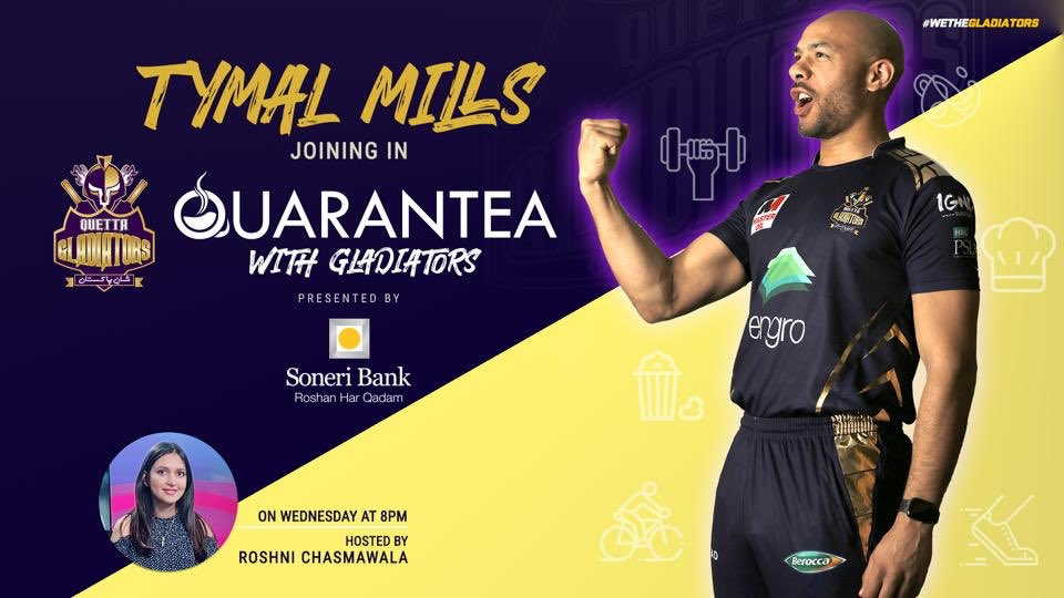 🤩 #PurpleForce!! We're back with the second episode & this time its our left-arm pacer @tmills15 joining us in the #QuaranTeaWithGladiators, presented by @SoneriBank_Pk !!  ⌚️📆Wednesday, at 8️⃣PM   💬Ask your questions from Tymal & we can get them answered!!  #WeTheGladiators https://t.co/Fw8gkvjZec