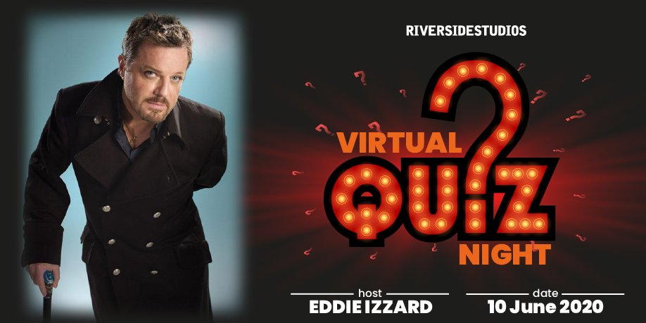 Only two days until the whimsically wonderful @eddieizzard hosts our Riverside Studios Charity Quiz!  10% of the proceeds will go @ImperialCharity and the rest will go to keeping Riverside open. Plus the prizes for the top five aren't too bad either!   https://t.co/wAOeLCtuQF https://t.co/dS4zyB3HYR