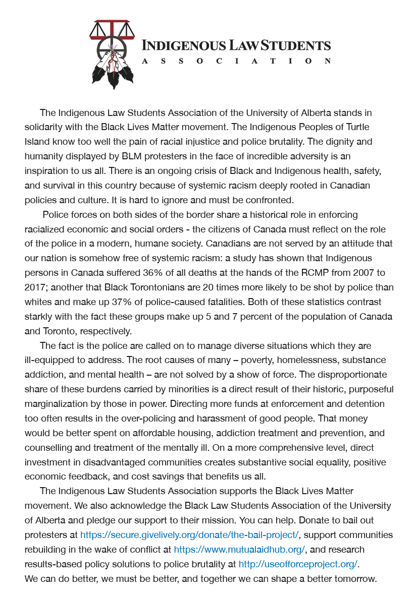 The Indigenous Law Students Association at the University of Alberta stands in solidarity with the Black Lives Matter movement. #BlackLivesMatter #blacklivesmattercanada