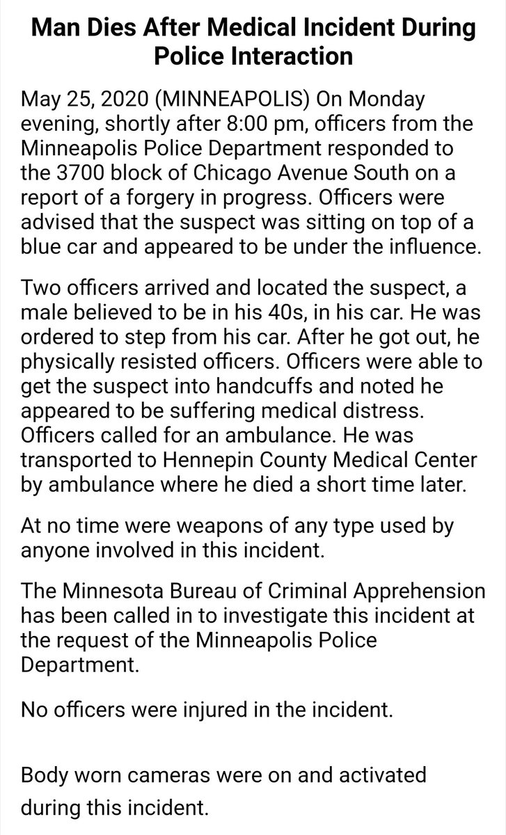 reminder that this is how the Minneapolis Police Department initially reported George Floyd's death https://t.co/7tPa1m1yyP