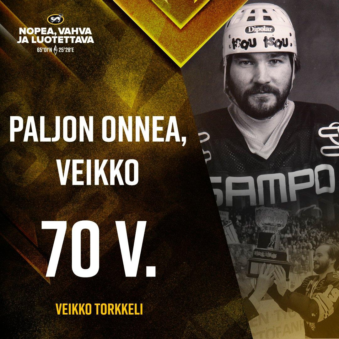 Kärpät seurahistorian ensimmäiseen mestaruuteen kipparoinut Veikko Torkkeli täyttää tänään 70!  Paljon onnea, Veikko! 🎉  #Kärpät #Liiga https://t.co/p4D9tAeQpF