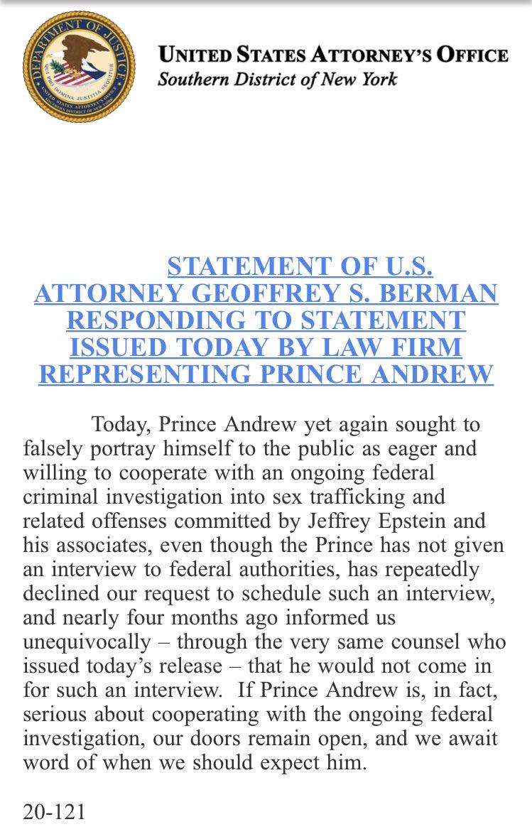 Epstein prosecutors in New York accuse Prince Andrew of lying https://t.co/BA0VM928j7
