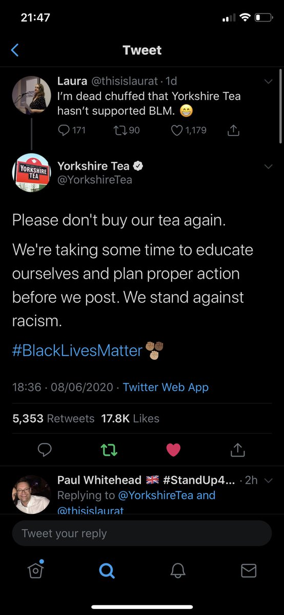 Replying to @hassanshabir786: In case you missed the beef between the racists and PG tips & Yorkshire Tea