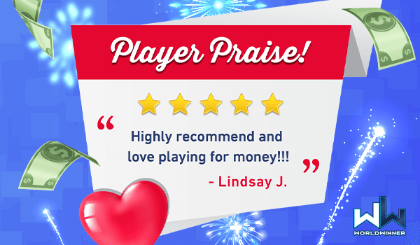 Thank you for such a great review, and for playing on #WorldWinner Lindsay J! 🤗💕🌻  #cashgames #winmoney #playgames https://t.co/WD9G5qrqJv