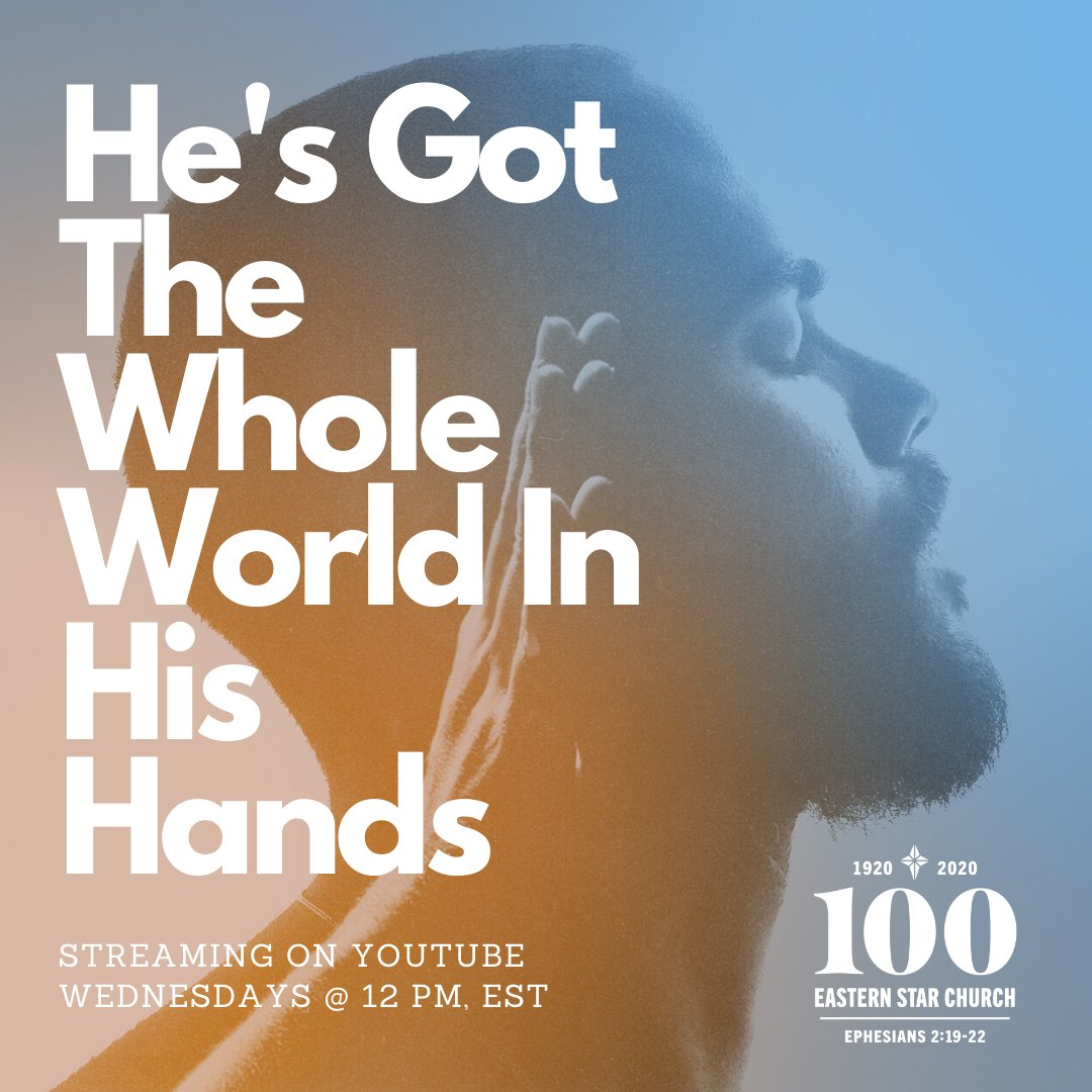 New #SermonSeries! 🙌🏽 Join us online every Wednesday at Noon for #BibleStudy! @PasJAJohnson will focus on the hand of God and reveal to us how God moves, maneuvers and manipulates situations on behalf of believers.   #HesGotTheWholeWorldInHisHands https://t.co/frceClQb2G