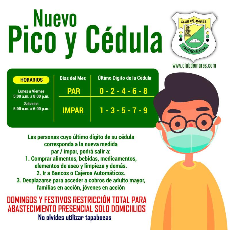 ACTUALIZACIÓN PICO Y CÉDULA #PicoYCédula para la compra de víveres, alimentos, pago de servicios públicos y bancarios.  #ClubDeMares #QuédateEnCasa #EvitaContagio. https://t.co/06saT62em4