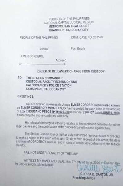 JUST IN: Court releases discharge order for Elmer Cordero, the 72 year-old driver of #Piston6 | via @JervisManahan  https://t.co/dj0QvwyxLr