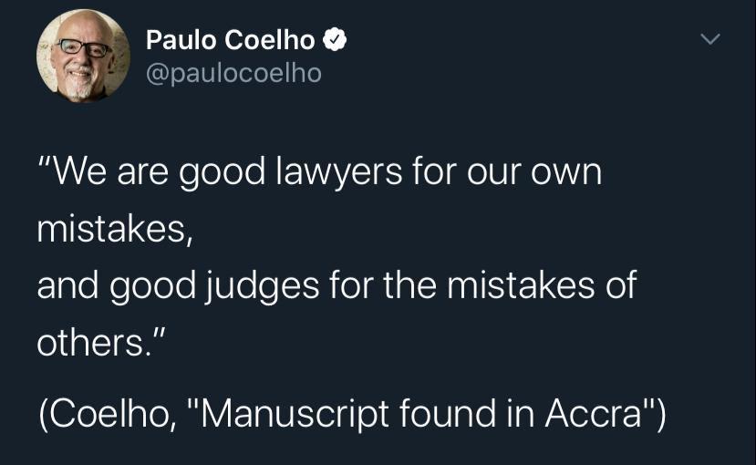 That's so true! Shouldn't the rules be the same? @paulocoelho https://t.co/sfYRDOwWli
