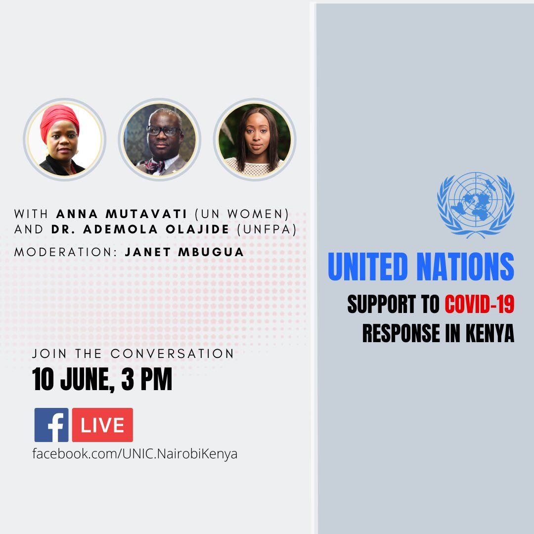Tomorrow, I'll be moderating a panel discussion on Gender Dimensions of the COVID 19 Pandemic, hosting Anna Mutavati, Country Representative for UN WOMEN in Kenya and Dr. Olajide Ademola, UNFPA Representative in Kenya. From 3PM See poster for live-stream details. #gender #covid19pic.twitter.com/O94Ih11L5z