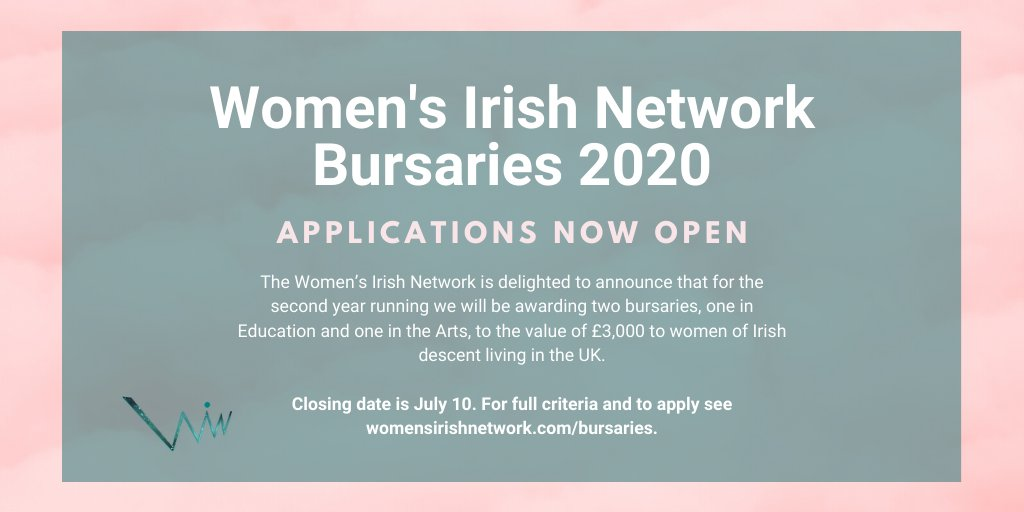 We are so excited to announce the return of our bursary programme for 2020! ✨ Two bursaries to the value of £3,000 will be awarded to women of Irish descent working in the Arts 🎭 or Education 🎓 Closing date 10 July 📅 For more information and to apply: womensirishnetwork.com/bursaries