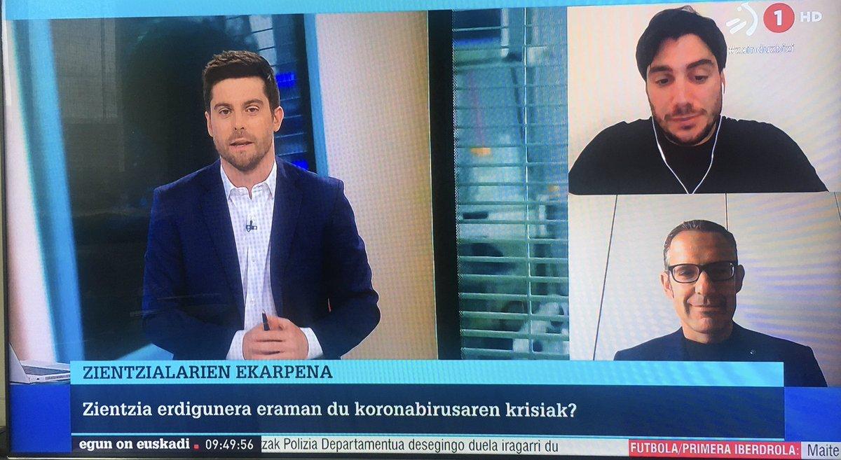 Hablando junto a @enekoaxpe en el programa egun on Euskadi de la televisión del País Vasco @eitb sobre divulgación y coronavirus. https://t.co/i2H2didDBY