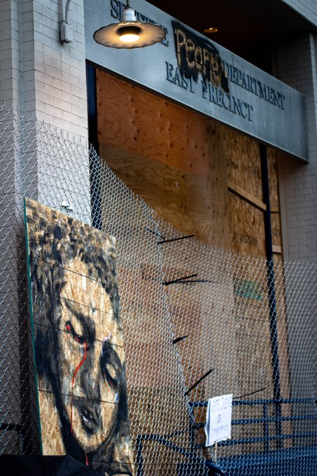 mural and barricaded police department
