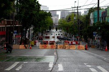 Seattle street from inside the east precinct