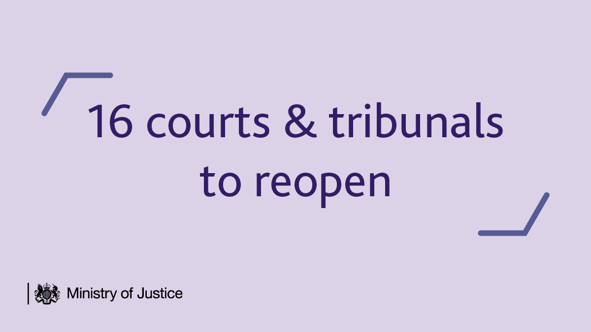 16 courts & tribunals will reopen this week so more socially distanced hearings can take place.   They join the 159 buildings that have remained open during the #coronavirus pandemic, helping the justice system continue to function.   More: https://t.co/EwdOeBhLN9 https://t.co/ijbvOjaKGd