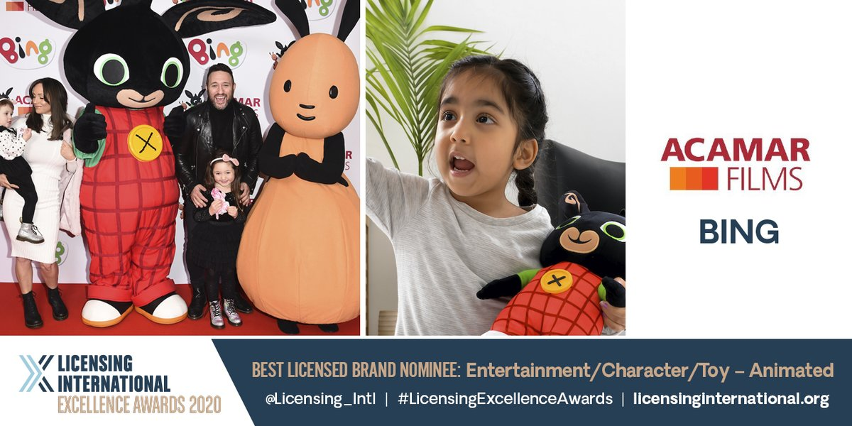Congrats to @AcamarFilms for its International Licensing Awards nomination in the #BESTBRAND #Entertainment #Character – #Animated category for its @bingbunny brand! More at https://t.co/nVKLuIcbtN #LicensingExcellenceAwards https://t.co/Ei9gQ0dORj