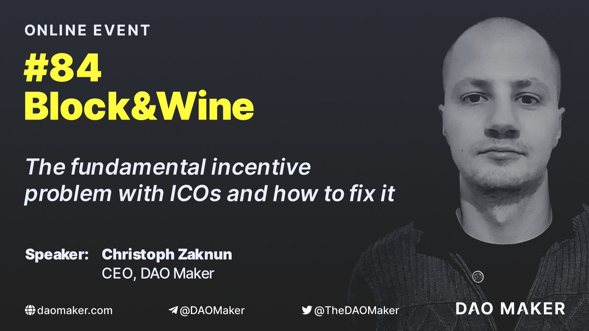 #ICOs are no longer up to date & #IEOs are based on the same faulty framework - I will deminstrate to you how the future of tokenized #Startups could look like - @CZaknun, CEO of #DAOmaker 📝Sign Up for the free Online Community Meetup by @anonsummit👇 hopin.to/events/84-bloc…