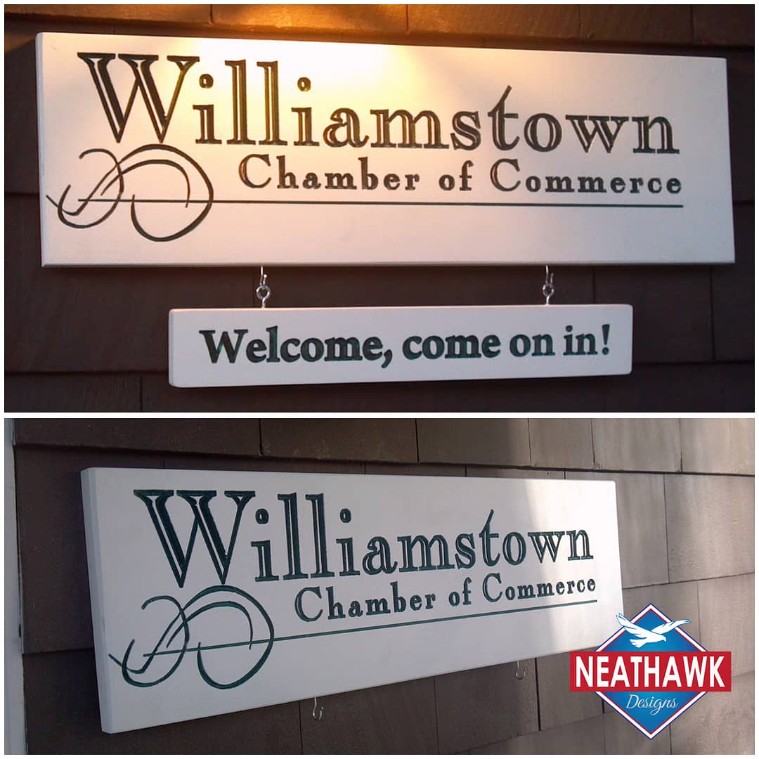 @williamstownchamber of Commerce 24in x 8in vCarved CNC in PVC #williamstownchamberofcommerce  #signshop #signmaker #cnc #shopbot #signmaking #signofthetimes #dimensionalsigns #womanrunbusiness #womaninbusiness #womanbusiness #cncmachine #madeintheberkshires #neathawkdesignspic.twitter.com/BqSzgczZo4