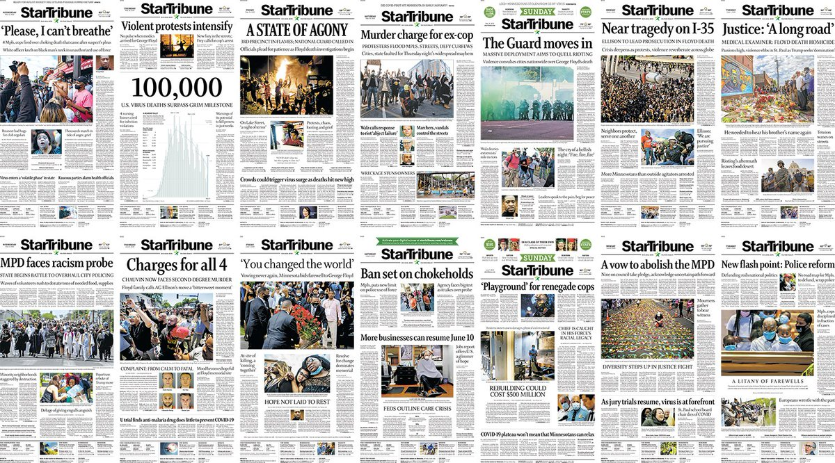 Two weeks in Minneapolis. Two weeks of @StarTribune front pages.