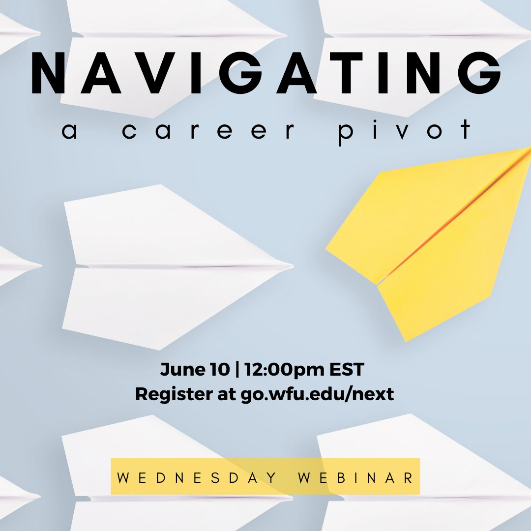 There's still time to grab a spot in our FREE 30 minute Wednesday Webinar on navigating a career pivot with @WFUAlumni Kristin Winkle Beck! Whether you're just starting out or twenty years in, these are strategies you can use. Open to all, register to get the link!